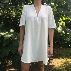 American Apparel deep v white dress